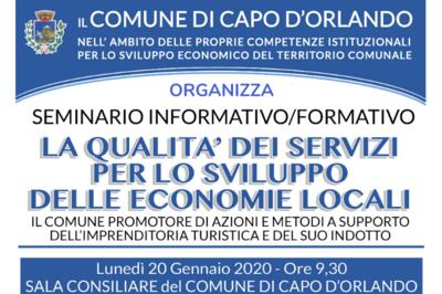 """20/01/2020 - Seminario informativo/formativo """"La qualità dei servizi per lo sviluppo delle economie locali"""" - Cosa fare a Capo d'Orlando"""